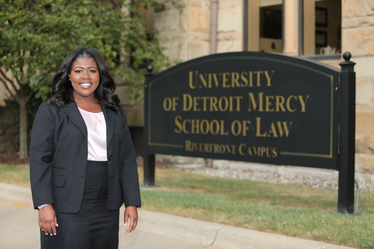 Jailah standing outside Detroit Mercy Law