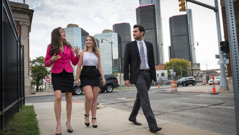 Students walking on Jefferson Ave. in Downtown Detroit